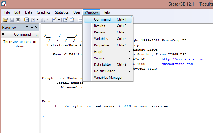 Stata GUI Window Interface